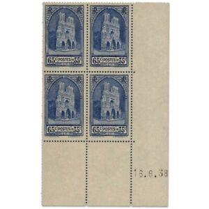 FRANCE COIN DATÉ N°399 CATHÉDRALE DE REIMS, BLOC DE TIMBRES NEUFS-1938