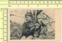 1940's Boy with Dog, Kid Child German Shepherd Canine vintage photo original