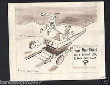 Vintage 1950's era US Army Cartoon 8x9 photo How Many Wheels can a Go Kart Lose?