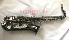 Professional C Melody Saxophone Nickel key Black nickel body Free  Neck +case
