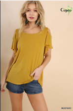 BLUHEAVEN BY UMGEE Cold Shoulder Top With Flutter Sleeves Mustard Color Size M