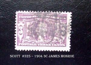 Scott  #325 – 1904 3c James Monroe Louisiana Purchase Commemorative