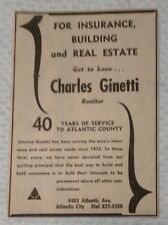 1964 Charles Ginetti Realtor Atlantic City NJ Advertisement