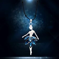 4 Colors Ballet Girl Crystal Silver Plated Pendant Necklace Sweater Chain Blue