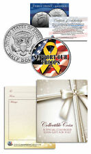 SUPPORT OUR TROOPS YELLOW RIBBON Kennedy Half Dollar US Coin w/Gift Card