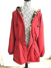 J.Crew Women's Red Hooded Jacket Hooded Coat Zip up Size Medium P