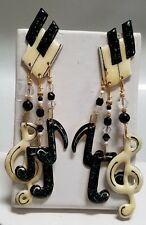 LUNCH AT THE RITZ PIERCED EARRINGS - PIANO KEYS & MUSICAL NOTES