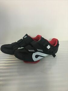 Pelotone Black and Red Cycling Bicycle Shoes With Cleats Size 36 Read