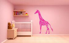 Wall Decal Room Sticker Giraffe animal Hot Pink kids nursery decor art bo2980