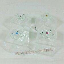 Bomboniere battesimo fiore cristallo Swarovski con scatolina plexiglass fai da