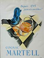 PUBLICITÉ DE PRESSE 1952 COGNAC MARTELL DEPUIS 1715 JAMAIS EN ÉCHEC - YVES BÉTIN