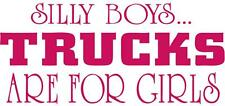 """Silly Boys Trucks are for Girls car or truck window sticker """"Very Cute"""" HOT PINK"""