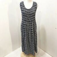 CROFT BARROW Size L Dress Black White Geometric Print Casual Size 12 14 Sundress