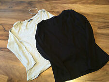 2 x Tops Black and Grey Sleeved Round Neck Soft Top Size 14