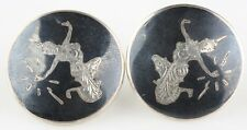 Vintage Sterling Silver Siamese Niello Etched Disk Earrings w/ Screw Backs