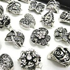 5pcs Antique Silver P CZ Rhinestones Women Mens Vintage Rings Wholesale Jewelry