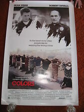 COLORS original MOVIE POSTER 1988 > ROLLED 1980's LA gangs cops Sean Penn Crypts