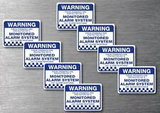 Monitored alarm Warning stickers 8 pack quality 7 year water & fade proof vinyl