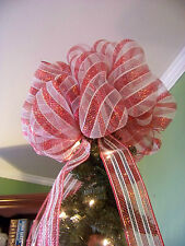Red & White Candy Cane Deco Mesh Christmas Tree Topper Bow