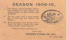 1909 Advertising Postal CARD RINGEN STOVE Quick Meal ST LOUIS MISSOURI ducK