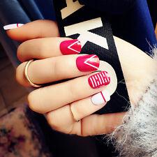 24pcs Irregular Pattern Fake Nails Short Ova Red Solid Nail Tips Nail Art in Box