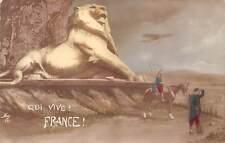 Qui Vive? France! Lion Statue Monument patriotic soldiers 1915