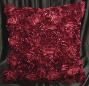 Sa202a Deep Red 3D Flower Taffeta Satin Cushion Cover/Pillow Case*Custom Size*