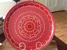 "VINTAGE RETRO Large Round METAL PLATTER TRAY 14"" Barbecue Red+White Flowers"