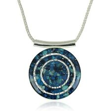 Sterling Silver Shades of Blue Turquoise & Aquamarine Gemstone Pendant Necklace