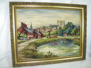 Vintage Framed Tapestry Picture English Scene Church Houses 49 x 37cm aprox