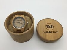 Woodenz Handcrafted Bamboo Wood Watch, Japanese Quartz, Genuine Leather Strap