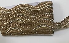 ATTRACTIVE INDIAN ANTIQUE GOLD WAVY TRIM WITH PEARLS /CRYSTALS TRIM/LACE-1 Metre