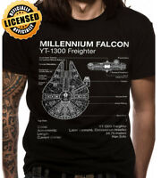 Official Star Wars Millennium Falcon Blue Prints Mens T-Shirt Darth Vader Yoda