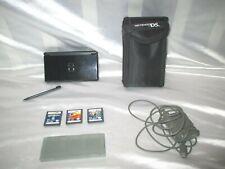 Nintendo DS Lite Black Handheld Bundle with Games & Case