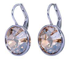 Swarovski Elements Crystal Golden Shadow Bella Earrings Rhodium Authentic 7170u