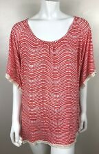 Women's CORAL w White Polka Dots Plus Sized  Cha Cha Vente Top TUNIC Size 2X