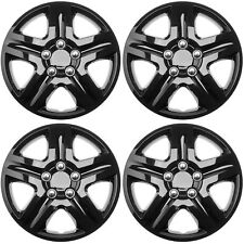 "4 PC Hub Caps Snap On (Steel Clips) 16"" inch ICE BLACK GLOSSY  Wheel Cover Cap"