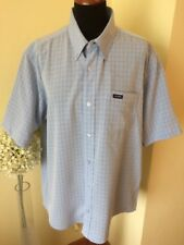 Designer KICKERS Shirt Size Large Blue Check Short Sleeve Excellent Condition