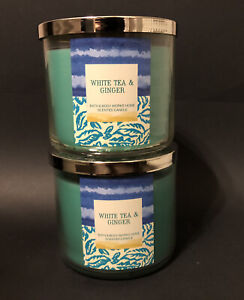 RARE (2) Bath & Body Works WHITE TEA & GINGER Candles Lot Full Size 3 Wick Barn