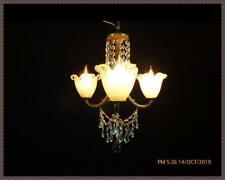 Vintage Petite Brass Chandelier Italian Globes Shades Vintage Crystals Stunning!