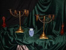 Pair Magnificent Vintage Classic Banquet Table Gold Gilt 4 Pillar Candelabras