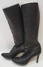 JIMMY CHOO Black Pointed Toe Zip Rear Stiletto Heel Knee High Boots 38.5 UK5.5