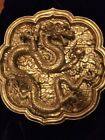 Antique/Vintage Large Asian Carved Golden Dragon With Flaming Pearl Wall Decour