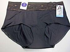 Jockey Slimmers Black Lace Waist Brief Panty, Size L #4191/001 MSRP $18