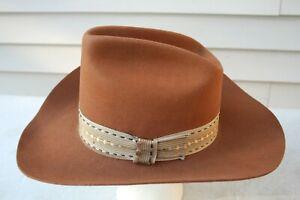 VTG Trail Ridge Brown Fur Blend Wool Western Cowboy Hat USA 6 7/8 Dynafelt