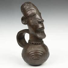 Vintage Figurative Terra Cotta Wine Vessel Mangbetu Congo Central Africa