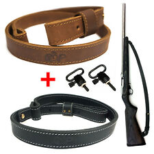"Grain Cowhide Rifle Sling Leahter Shotgun Gun Strap with 1"" Quick Detach Swivels"