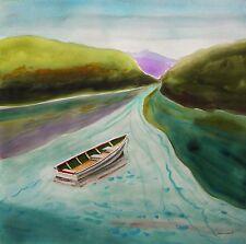 ORIGINAL Boat Landscape Watercolor Painting JMW art J Williams Impressionism