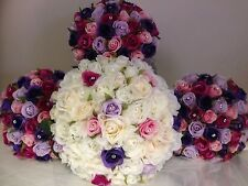 IVORY PURPLE PINK ROSE PACKAGE 8 PIECE WEDDING BOUQUET WITH DIAMONDS SILK FLOWER