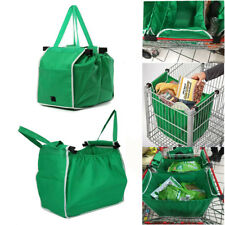 Reusable Shopping Grab Bags Eco Foldable Trolley Tote Grocery Bag Clip-To-Cart